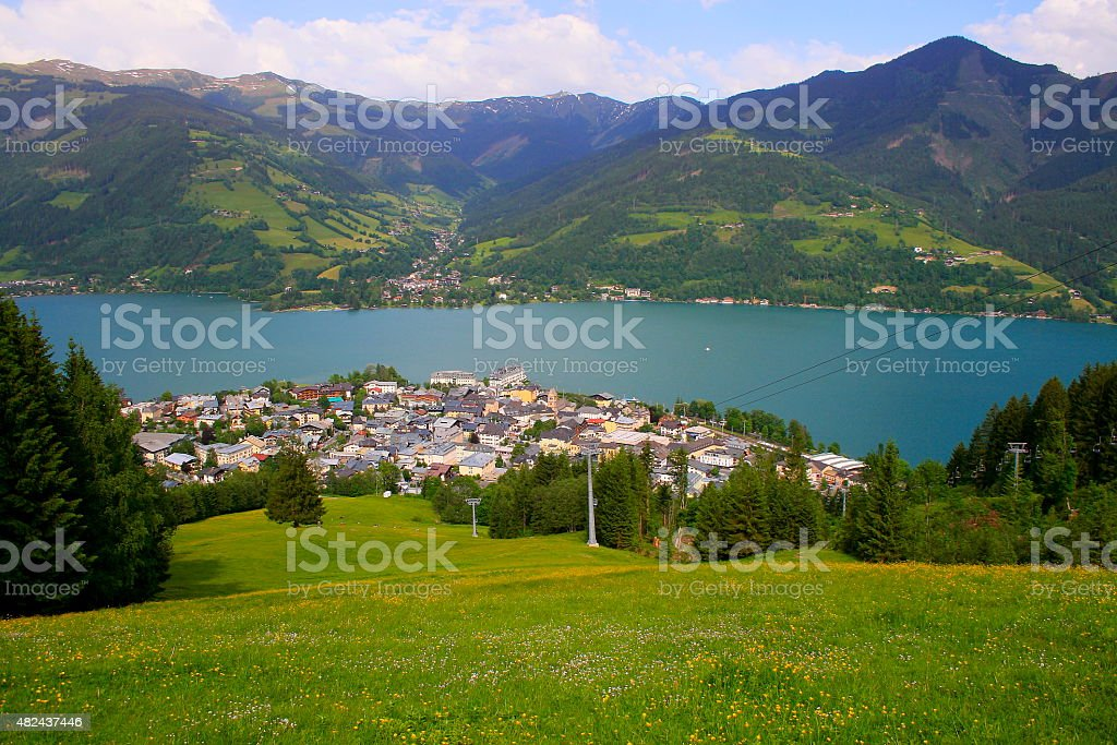 Above Zell am See panorama and lake at sunset, Austria stock photo