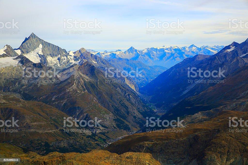 above Zermatt alpine valley swiss mountain range, Swiss Alps stock photo