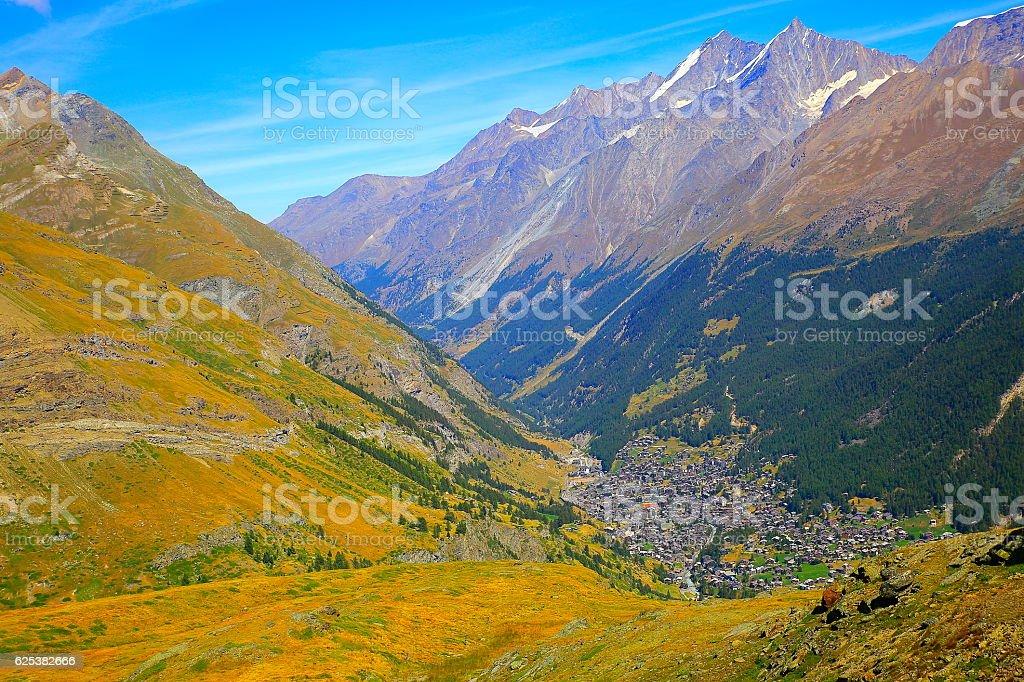 Above Zermatt alpine village swiss chalets panorama, Swiss Alps, Switzerland stock photo