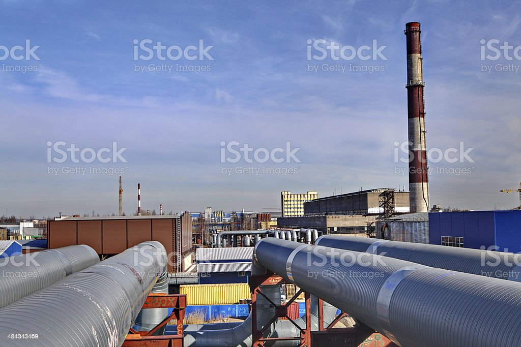 Aboveground pipeline leading to Thermal power station stock photo