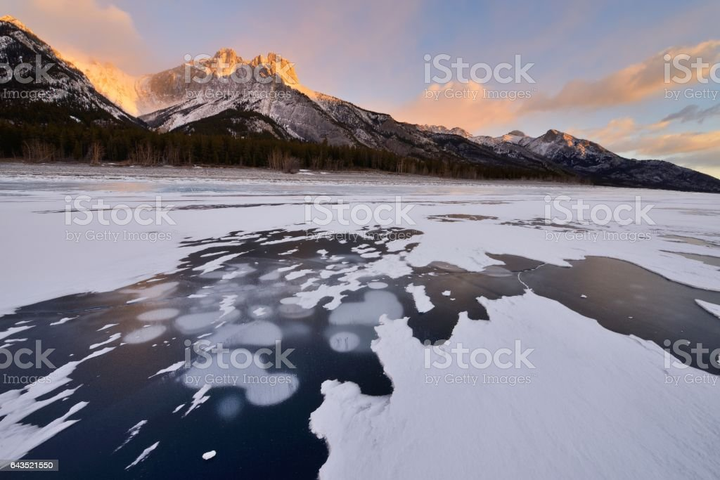 Abraham Lake In Winter Sunrise Kootenay Plains Alberta Canada stock photo