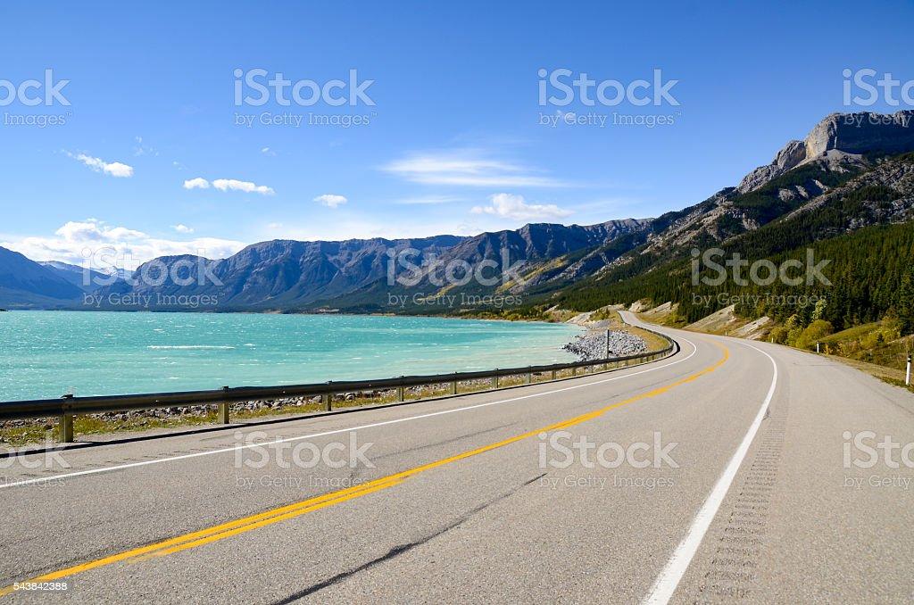 Abraham Lake inAutumn, Canadian Rockies (Canada) stock photo