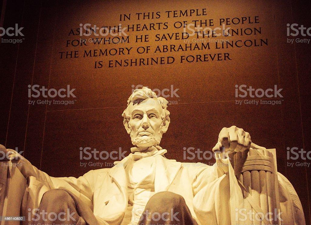 Abraham Lincoln at Night stock photo
