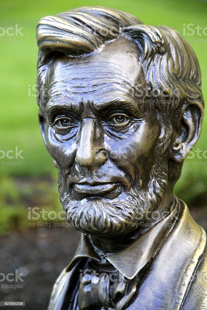 Abraham Lincoln - bronze bust statue stock photo