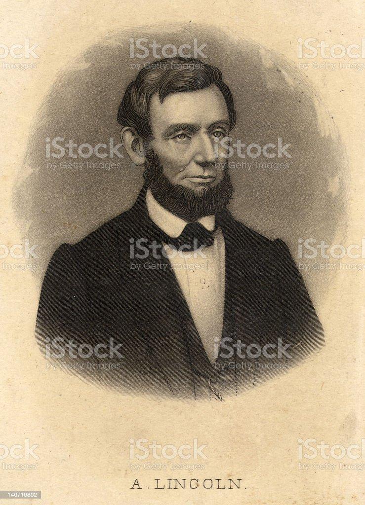 Abraham Lincoln engraving stock photo