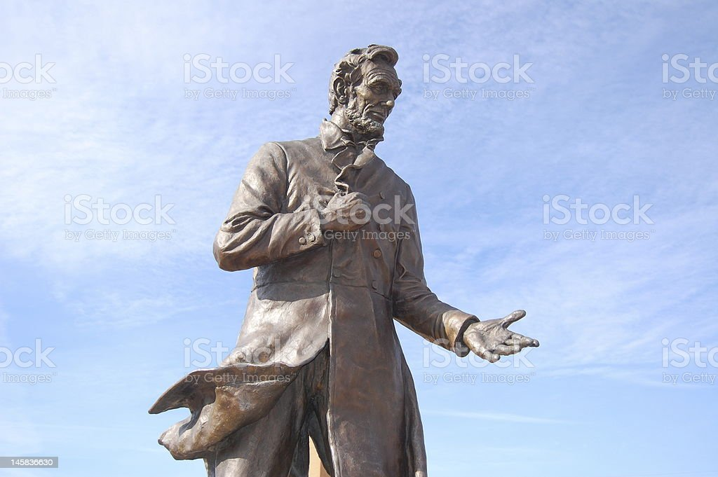 Abraham Lincoln giving a speech stock photo