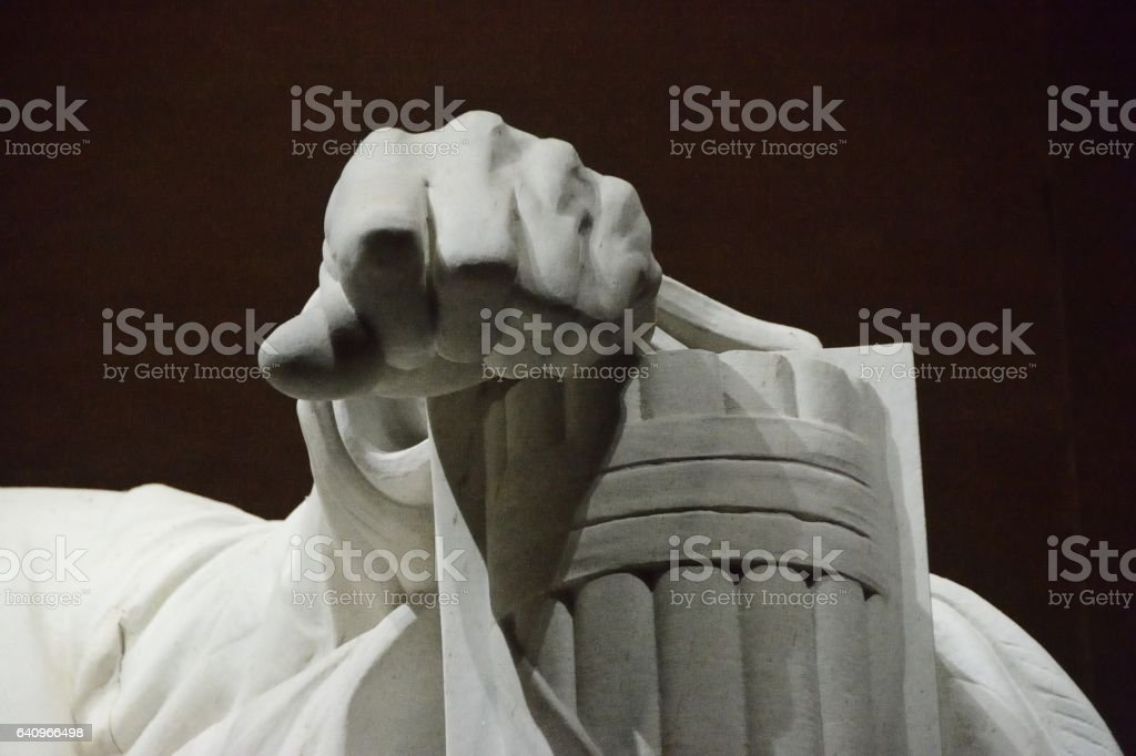 Abraham Lincoln Hand Close-up stock photo