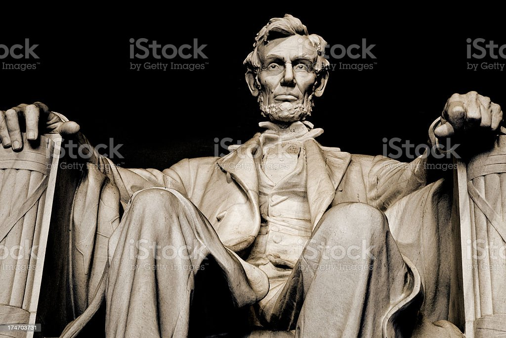 Abraham Lincoln in Lincoln Memorial (XXL) royalty-free stock photo