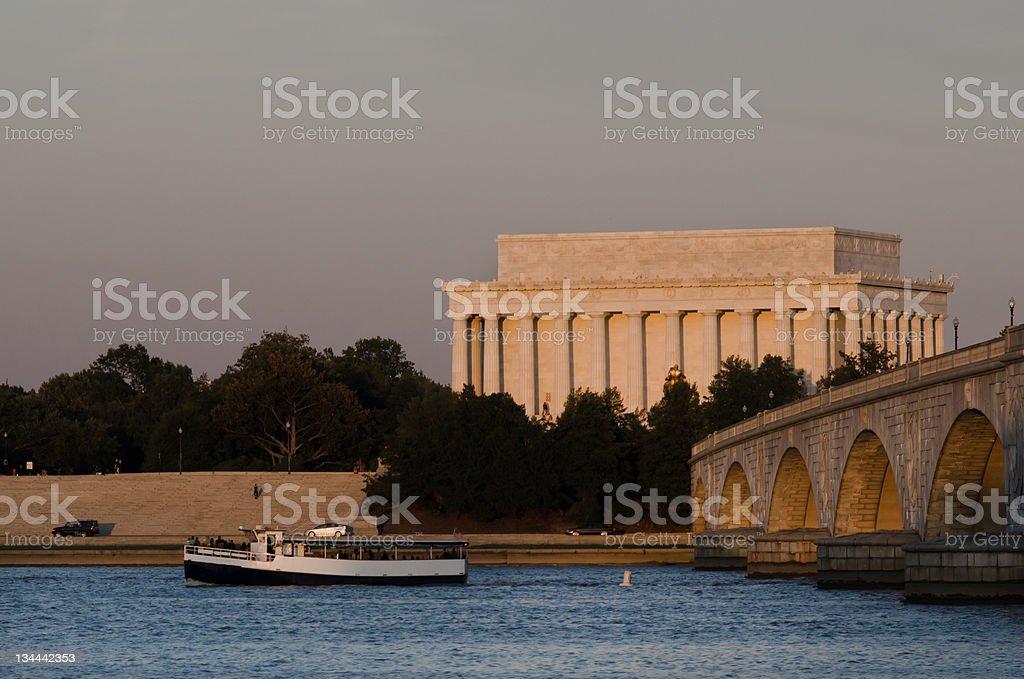 Abraham Lincoln Memorial and Arlington Bridge - Washington DC stock photo