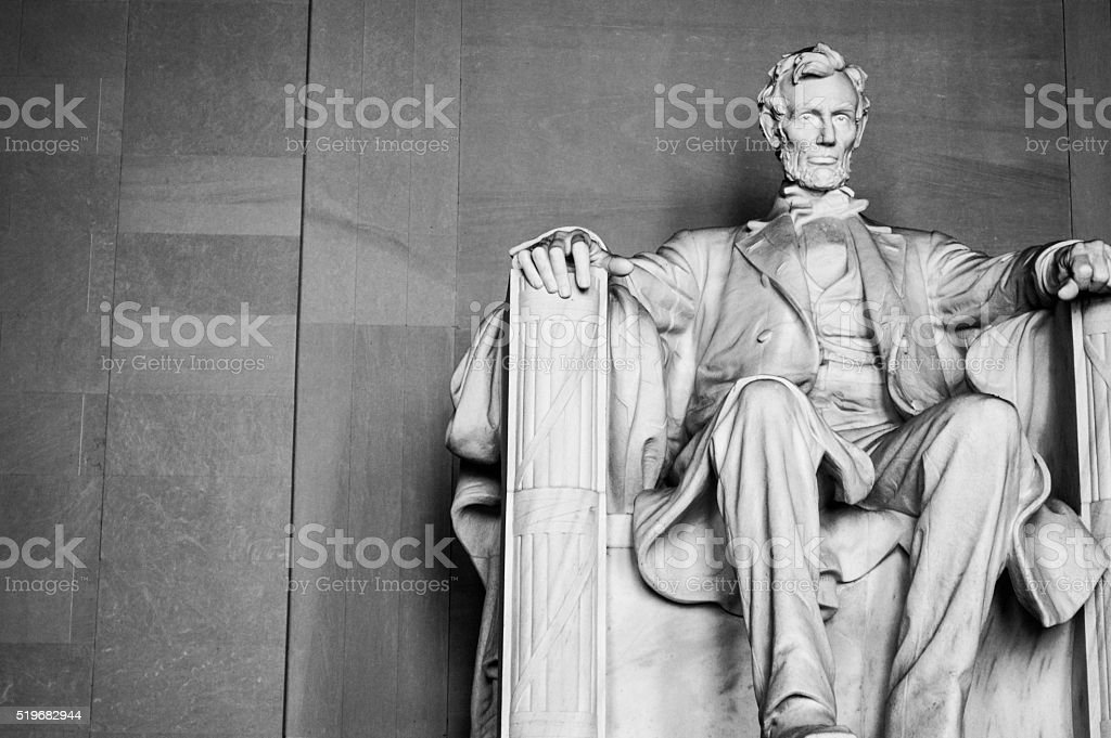 Abraham Lincoln memorial in Washington DC stock photo