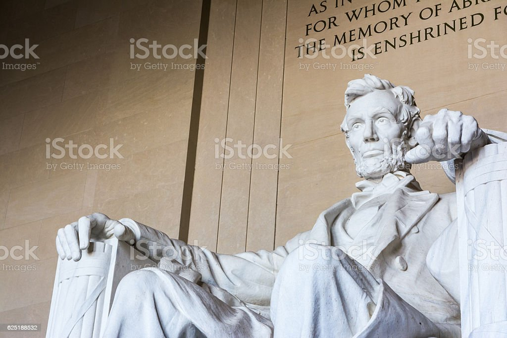 Abraham Lincoln Memorial Sitting Chair famous Landmark Closeup P stock photo