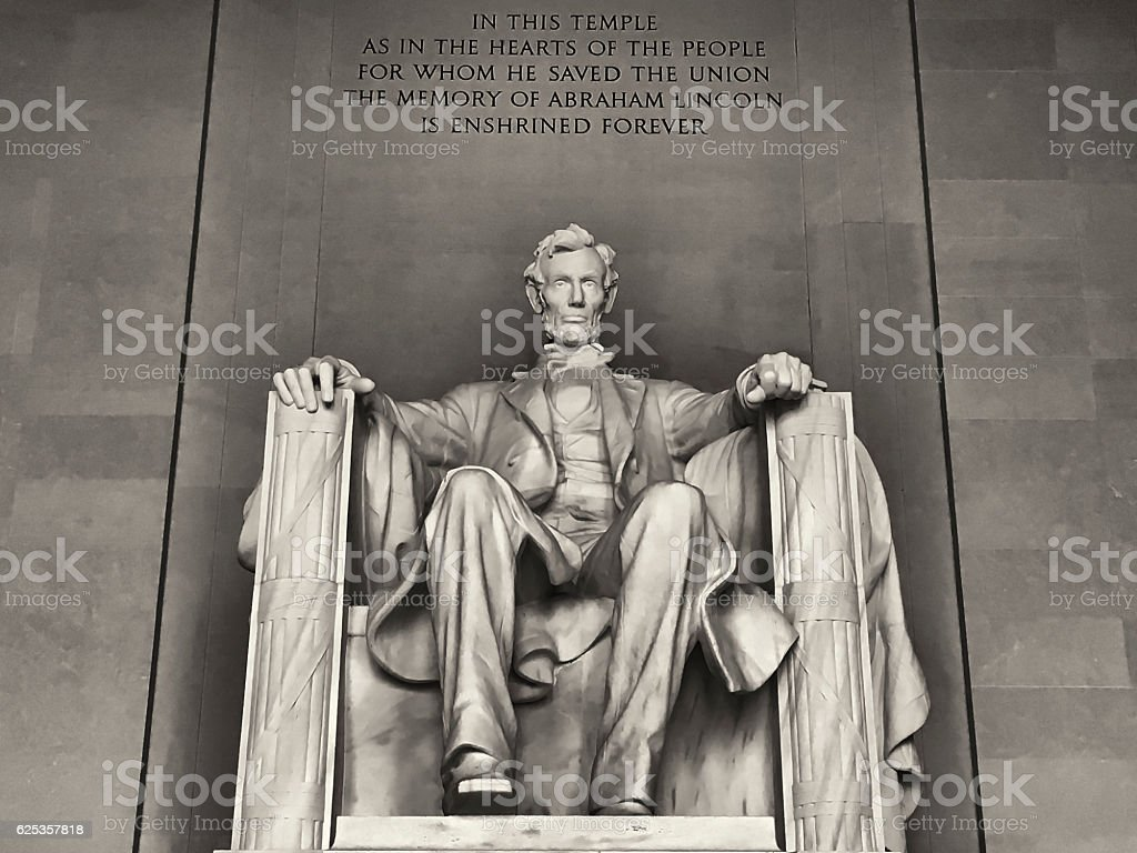 Abraham Lincoln monument in Washington, DC stock photo