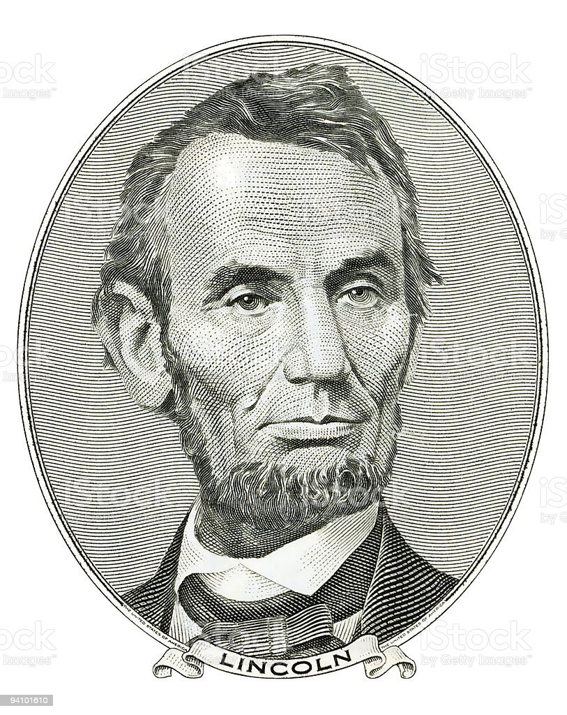 Abraham Lincoln portrait cutout stock photo