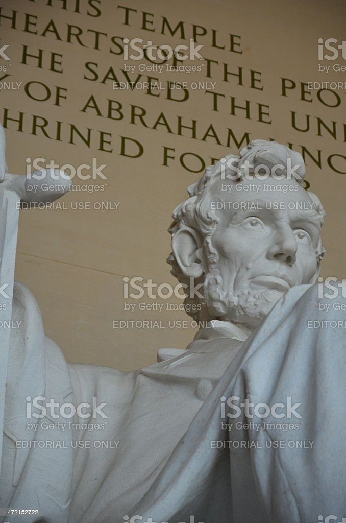 Abraham Lincoln Sculpture Left Corner Close up Lincoln Memorial stock photo