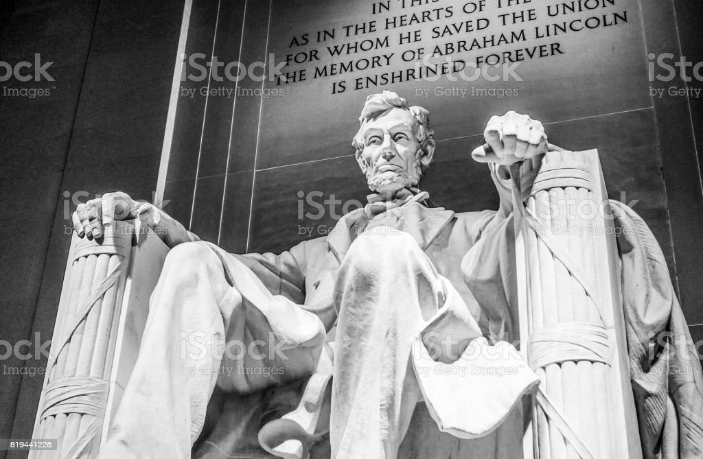 Abraham Lincoln Statue in Washington DC - The Lincoln Memorial stock photo
