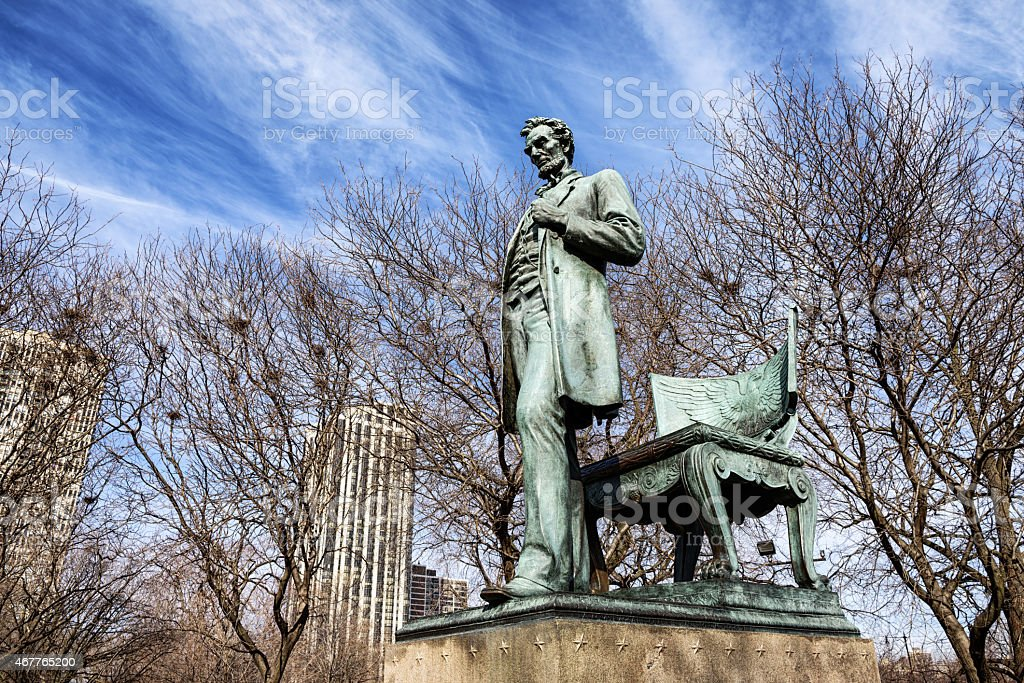 Abraham Lincoln Statue, standing. Chicago. stock photo
