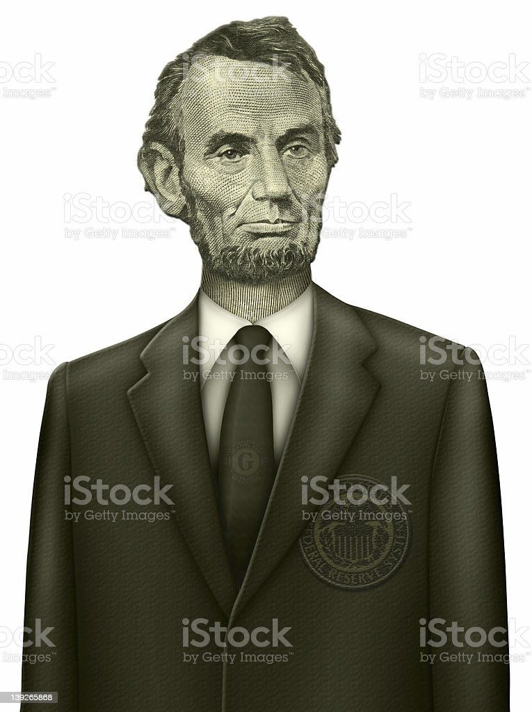 Abraham Lincoln wearing a modern suit royalty-free stock photo