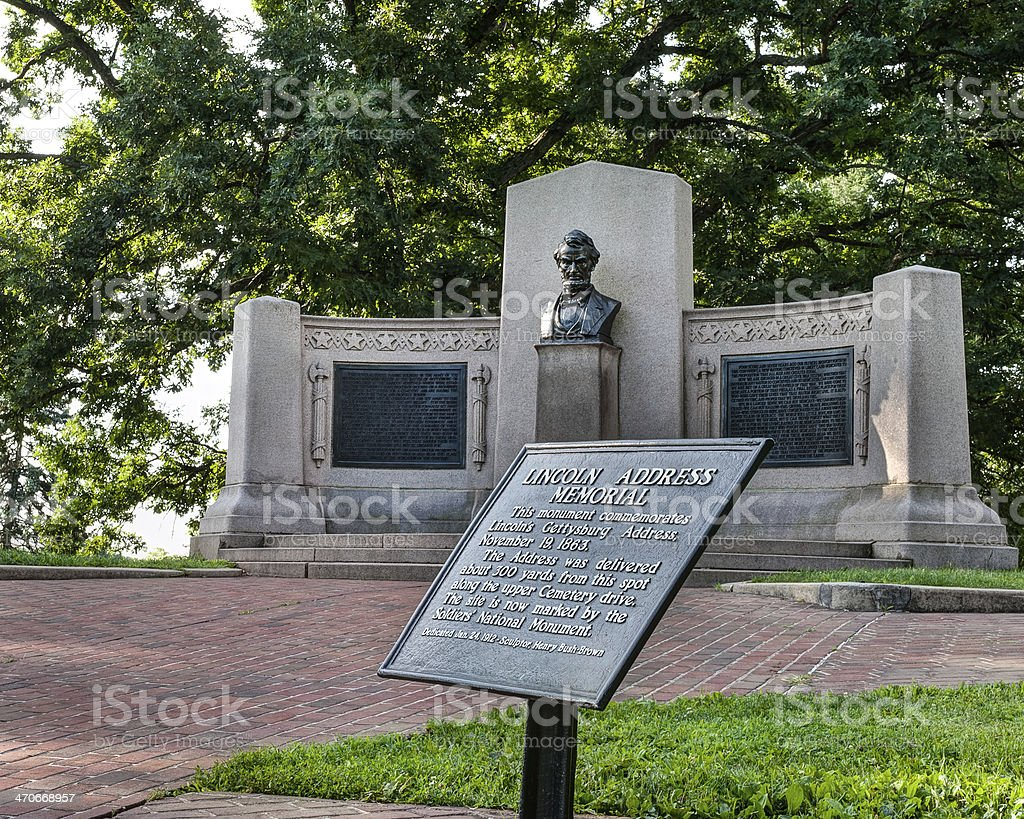 Abraham Lincoln's Gettysburg Address Monument in Gettysburg, PA stock photo