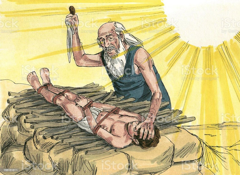 Abraham offers Isaac stock photo