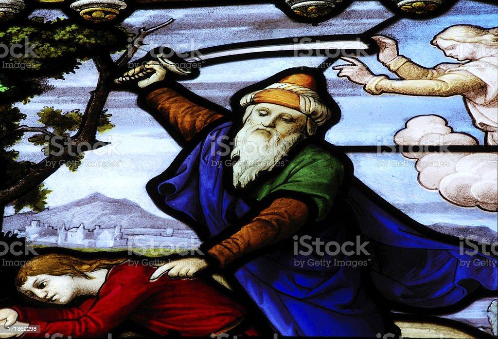 Abraham sacrifices Isaac stock photo