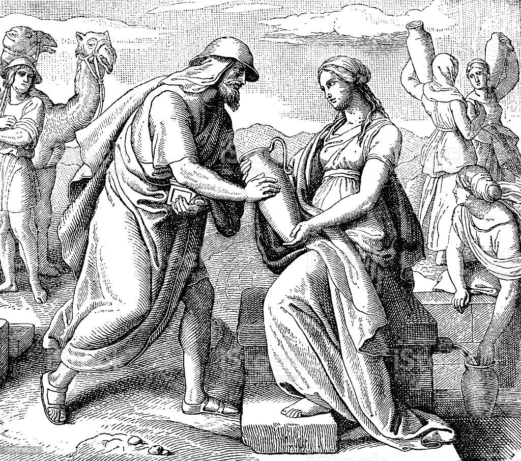 Abraham's Servent Meets Rebekah royalty-free stock photo