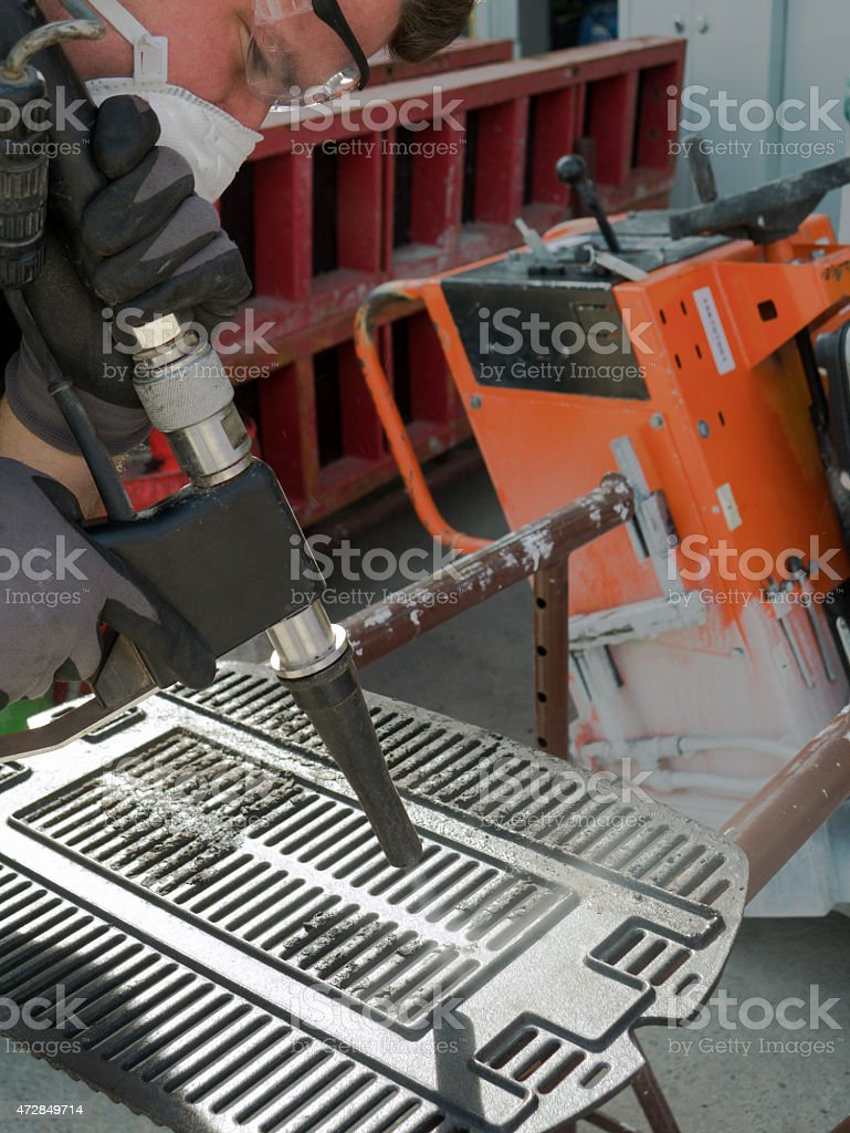 abrasive blast cleaning with dry ice stock photo