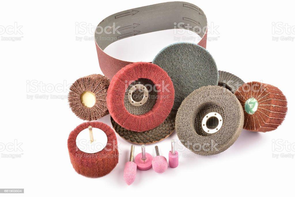 Abrasive wheels isolated on a white background stock photo