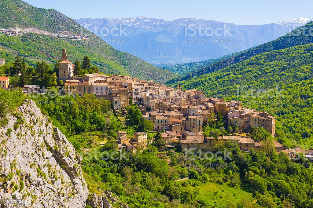 Abruzzo traditional medieval villages, Italy stock photo