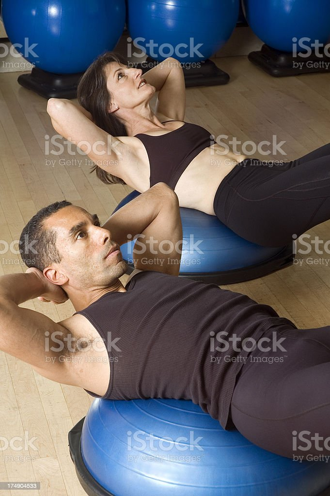 Abs Workout on Bosu Balls royalty-free stock photo
