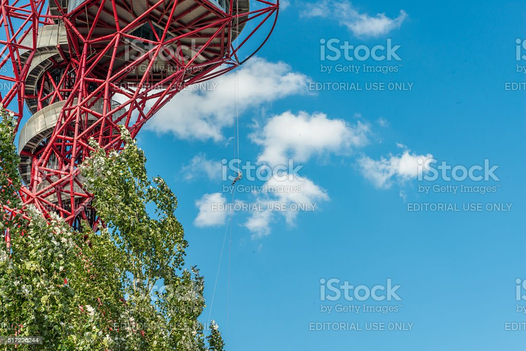Abseiling experience in ArcelorMittal Orbit stock photo
