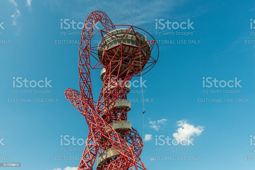Abseiling in ArcelorMittal Orbit stock photo