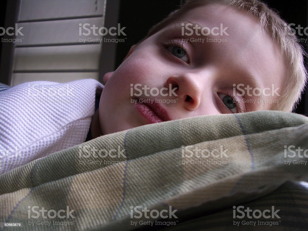 Absent from School: Boy Flushed and Feverish royalty-free stock photo