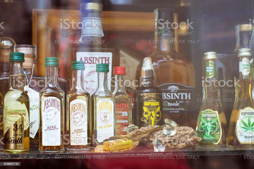 Absinthe store, Prague stock photo