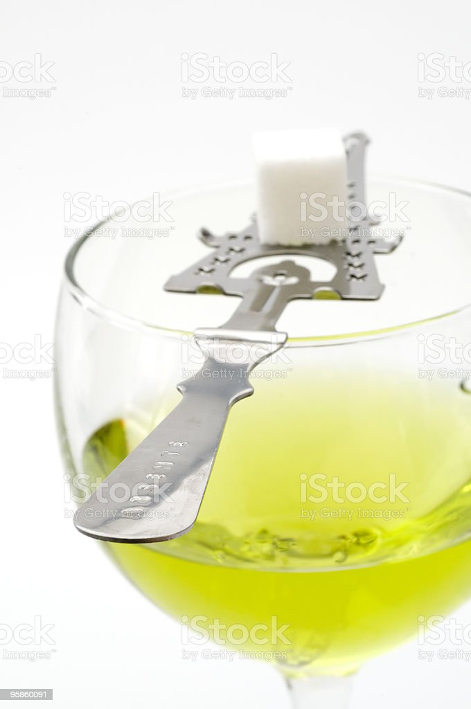 Absinthe with Sugar Cube and Stir Spoon stock photo