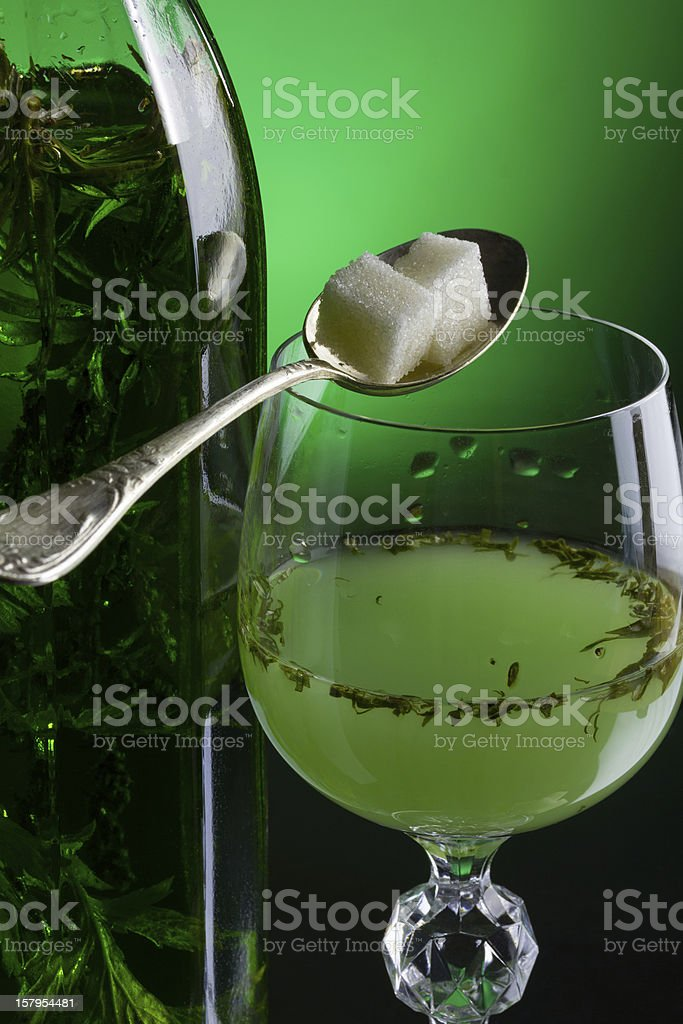 Absinthe with sugar stock photo