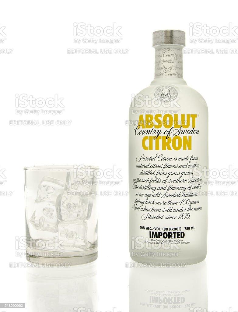 Absolut Citron Vodka stock photo