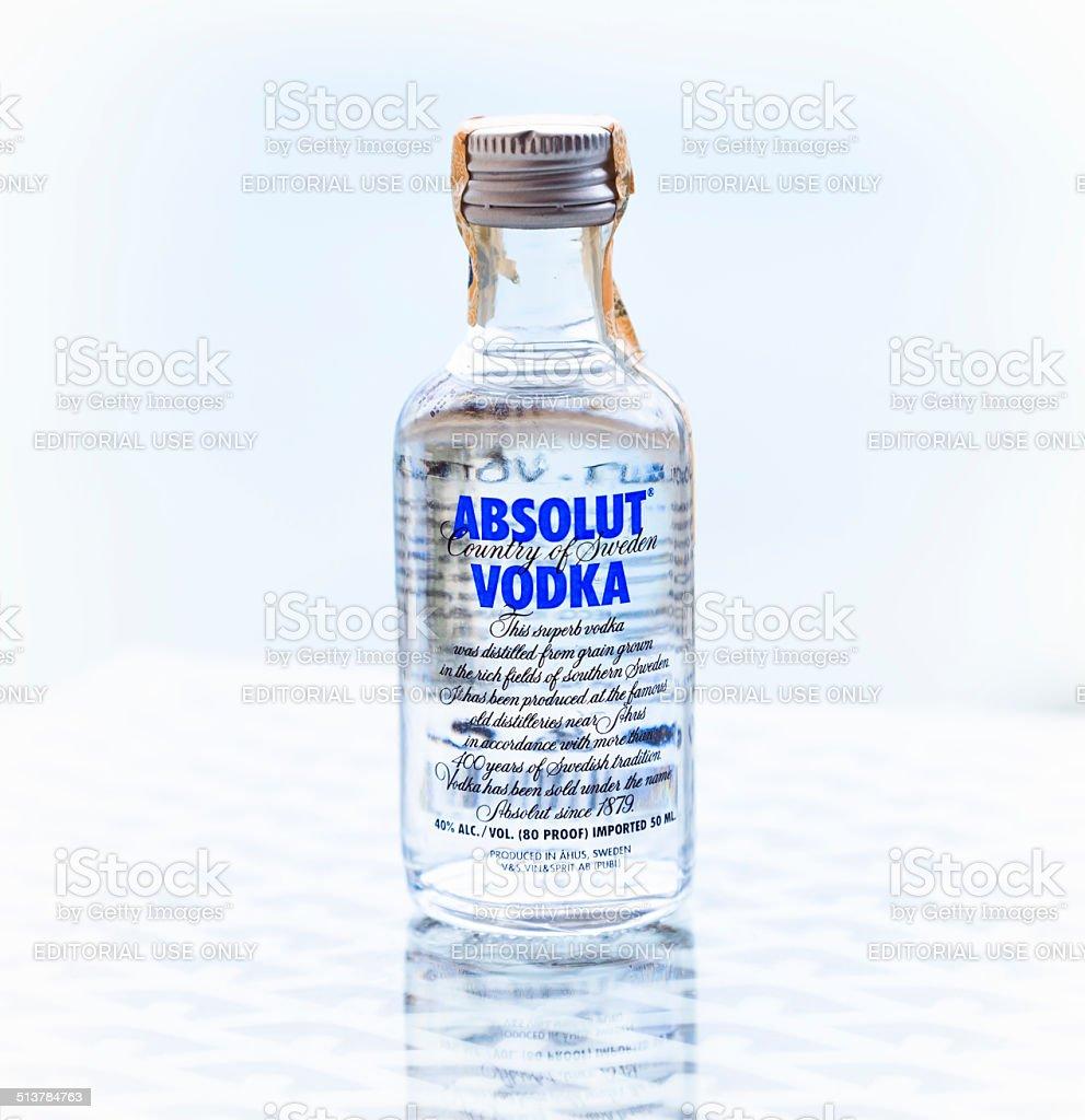 Absolut Mini Vodka Bottle stock photo