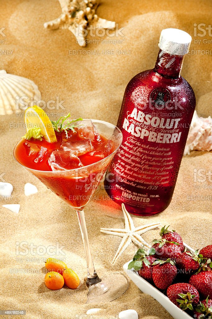 Absolut Raspberri Vodka stock photo