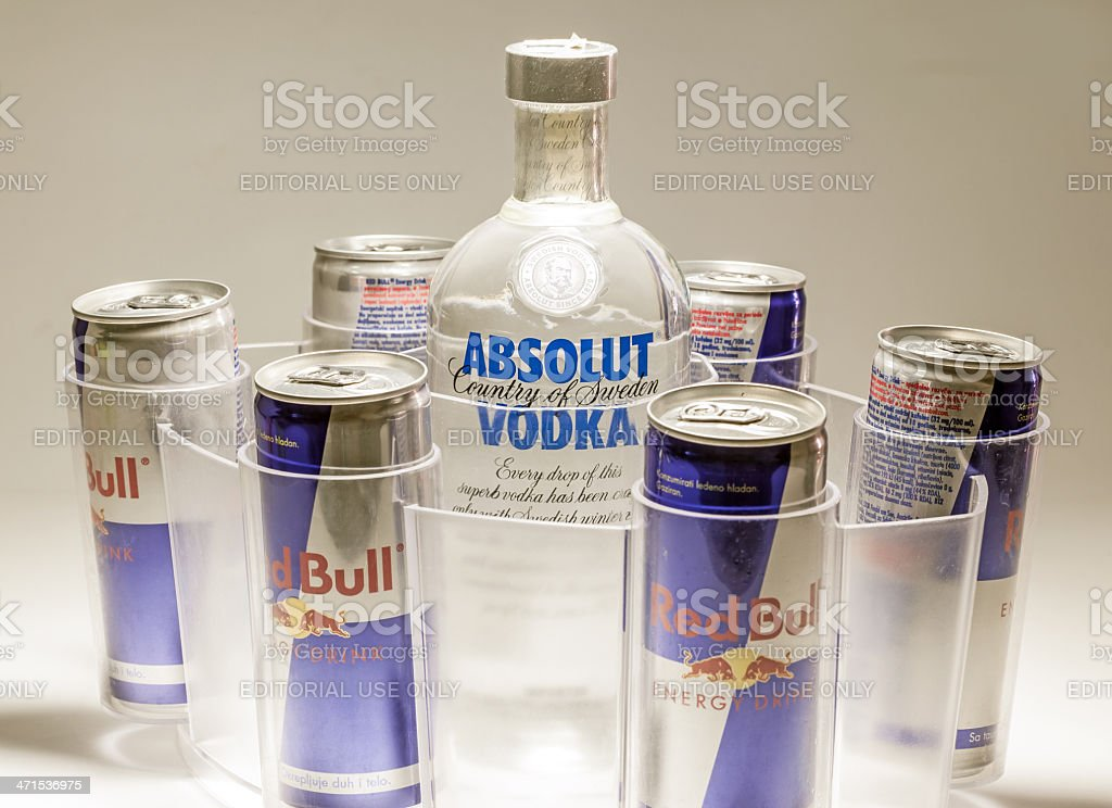 Absolut Vodka and Red Bull stock photo