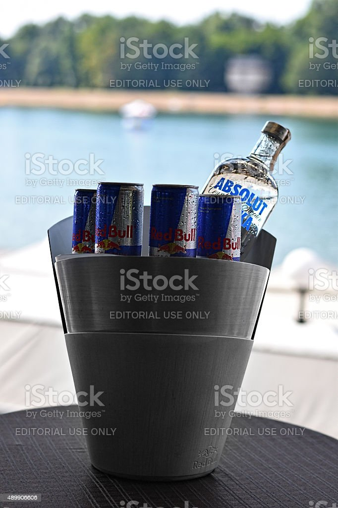 Absolut Vodka And Redbull stock photo