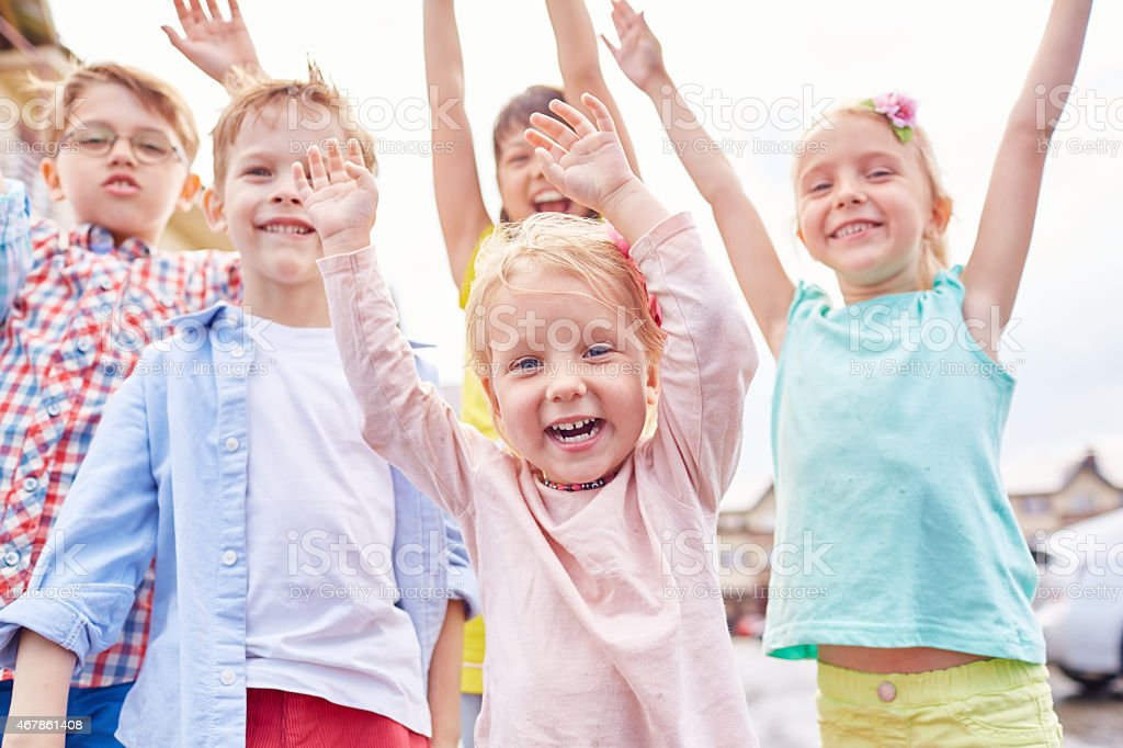 Absolutely happy kids stock photo