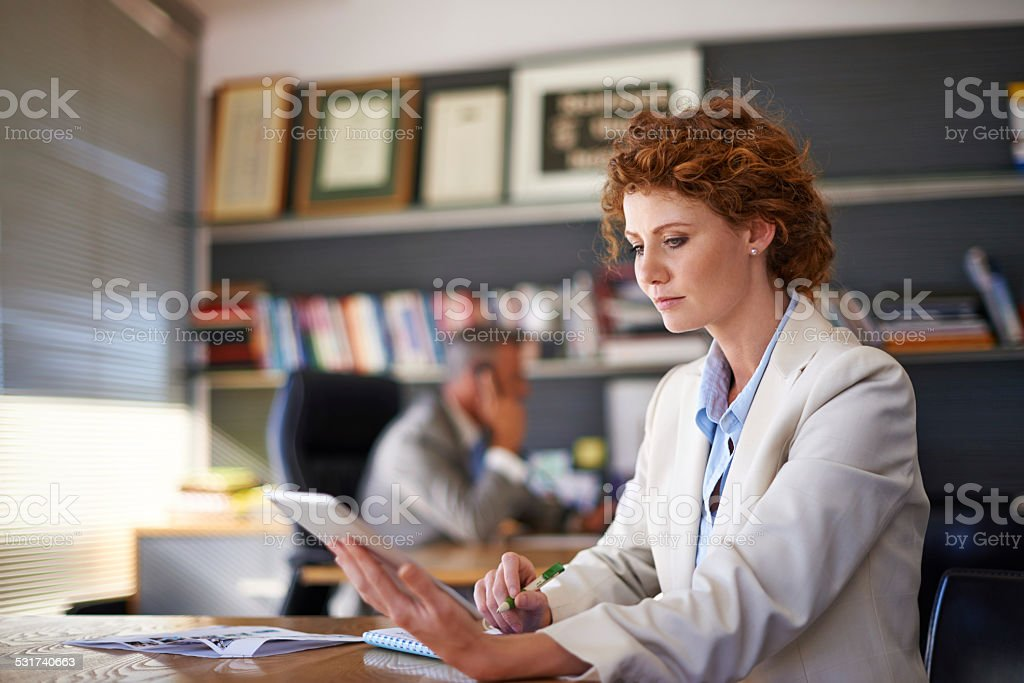 Absorbed in her work stock photo