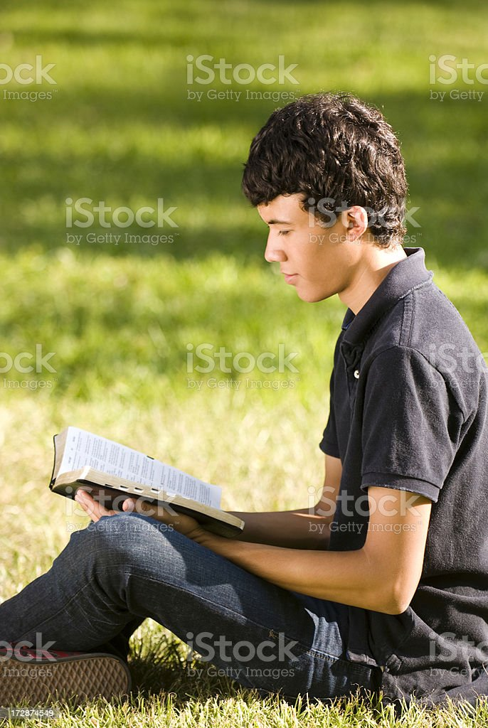 Absorbed teen reading royalty-free stock photo