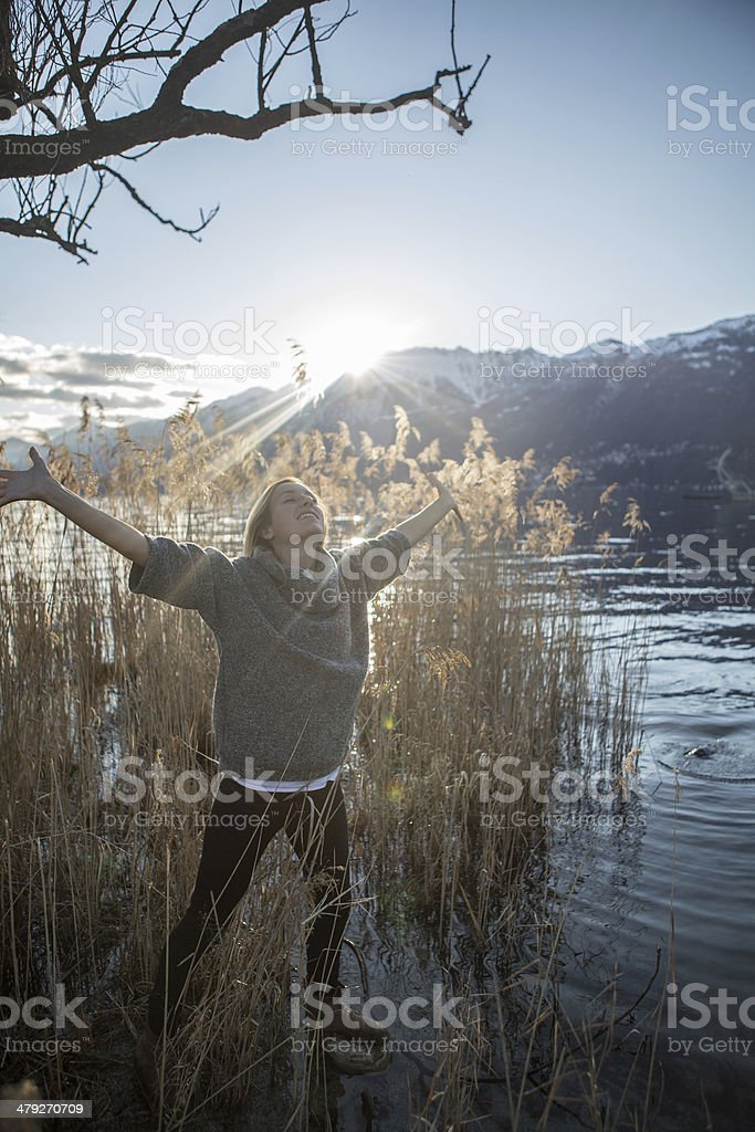 Absorbing energy stock photo