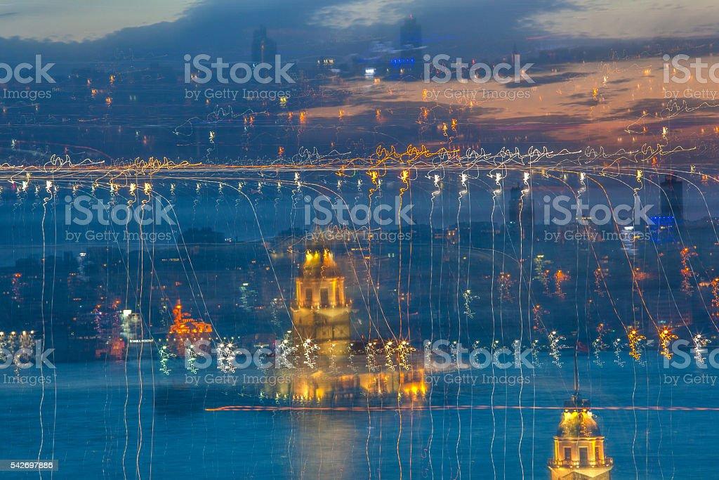 Absract Istanbul night stock photo