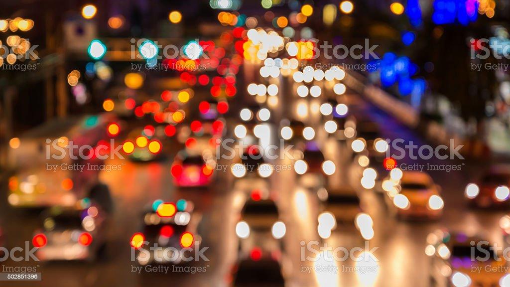 abstact blur bokeh of Evening traffic jam on road stock photo