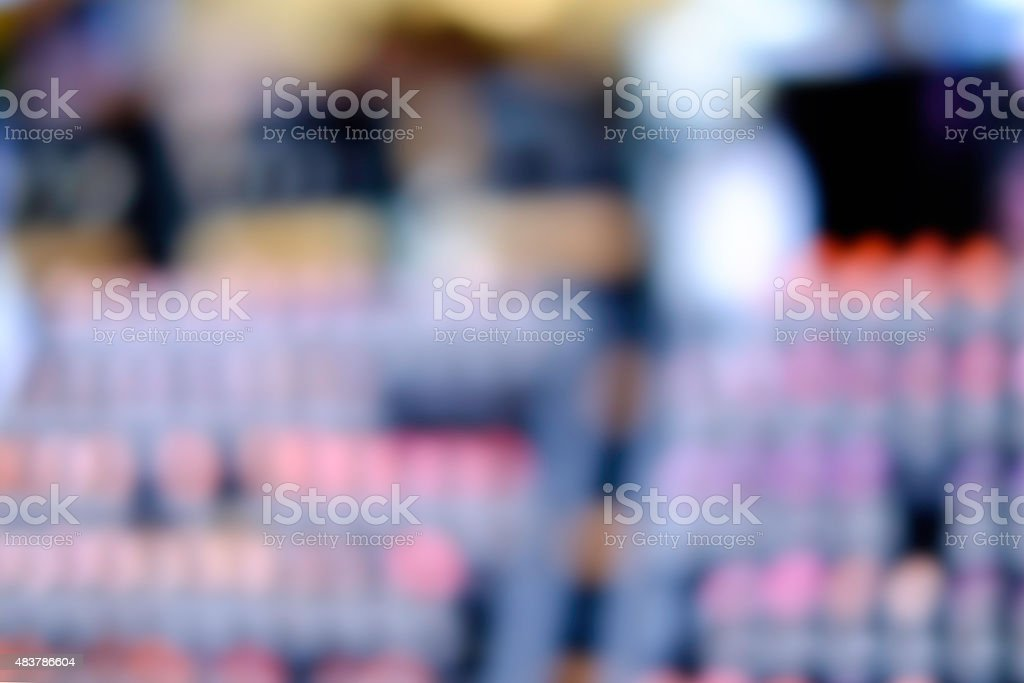 Abstarct Blur of lipstick in Cosmetic store stock photo