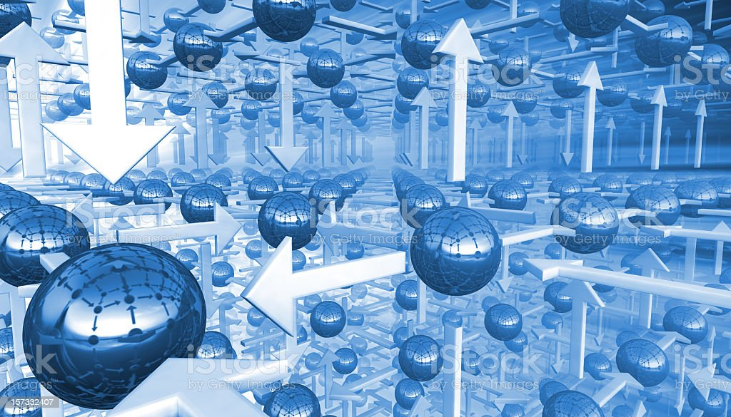 Abstract 3D arrows and spheres going into infinity royalty-free stock photo