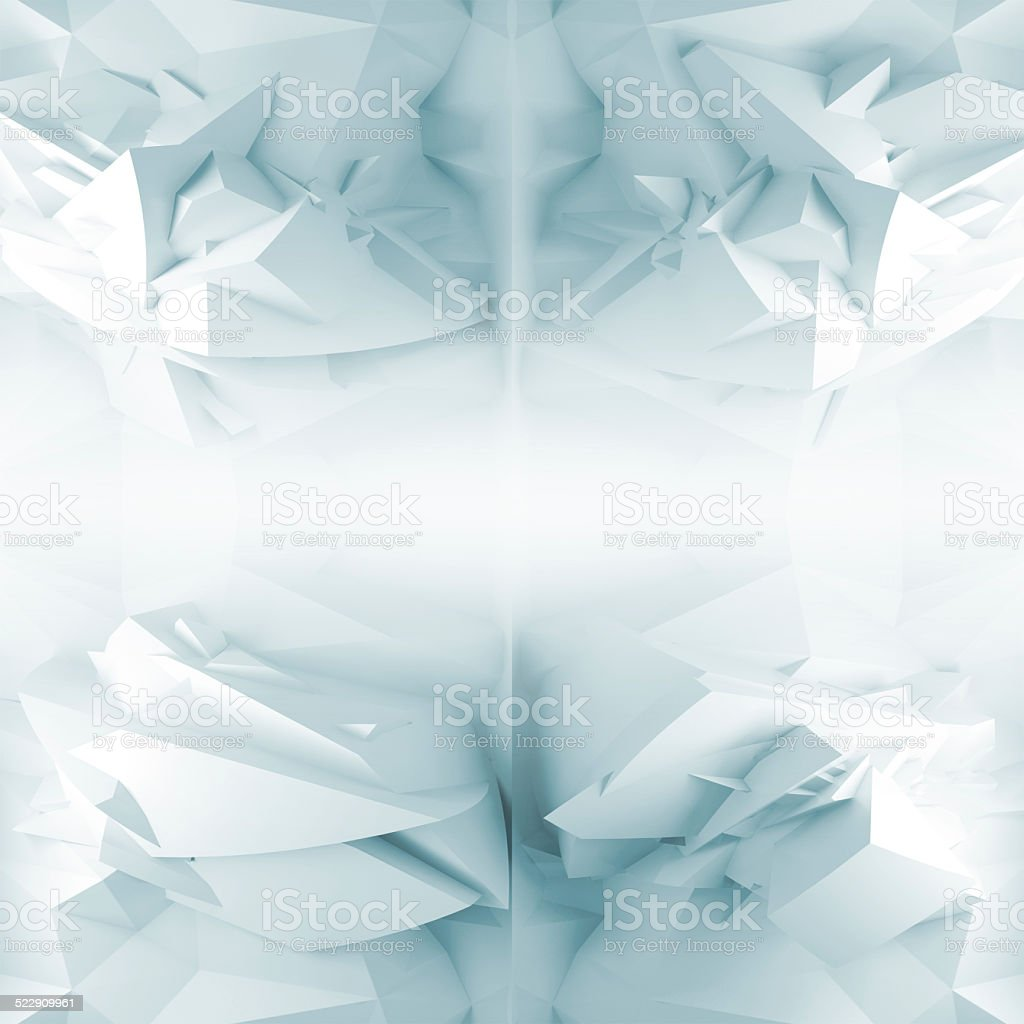 Abstract 3d background, chaotic blue polygonal structure stock photo