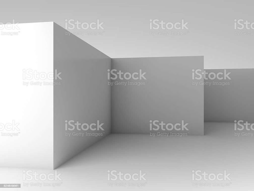Abstract 3d background, white empty room interior stock photo